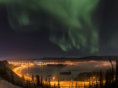 Whitehorse beneath the northern lights