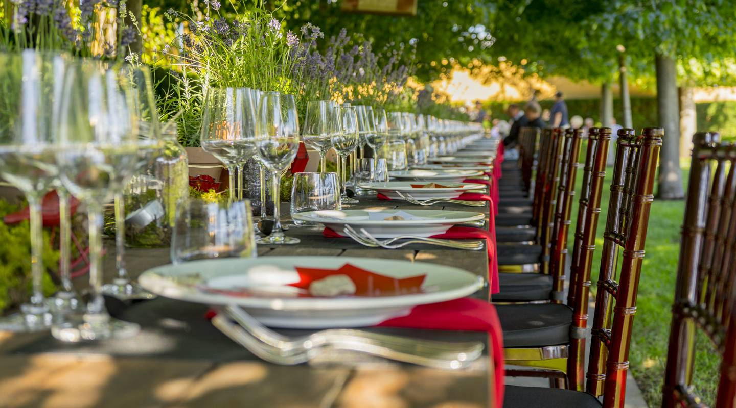 Exceptional event locations throughout the estate include a tranquil outdoor courtyard, the architecturally stunning tasting room, the Chagall Room, or a secluded loggia beneath the bell tower, overlooking Okanagan Lake