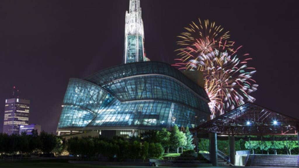 Winnipeg at night with fireworks