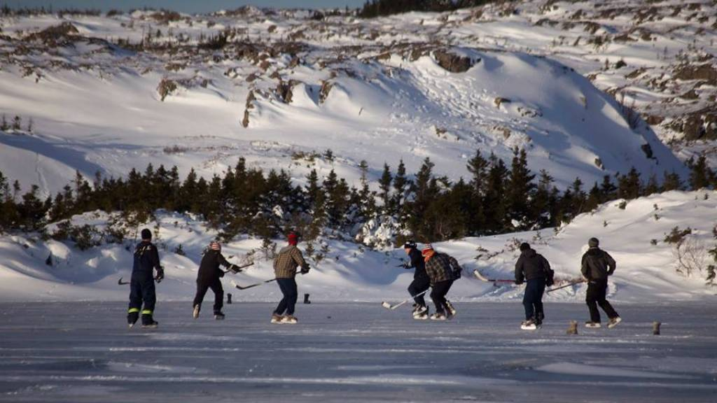 Pond hockey team building