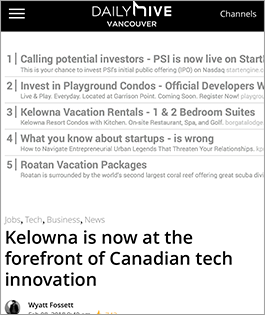 Kelowna is now at the forefront of Canadian tech innovation
