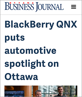 Ottawa Business Journal - BlackBerry QNX puts automotive spotlight on Ottawa