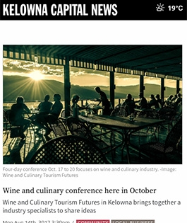 Wine and culinary conference here in October